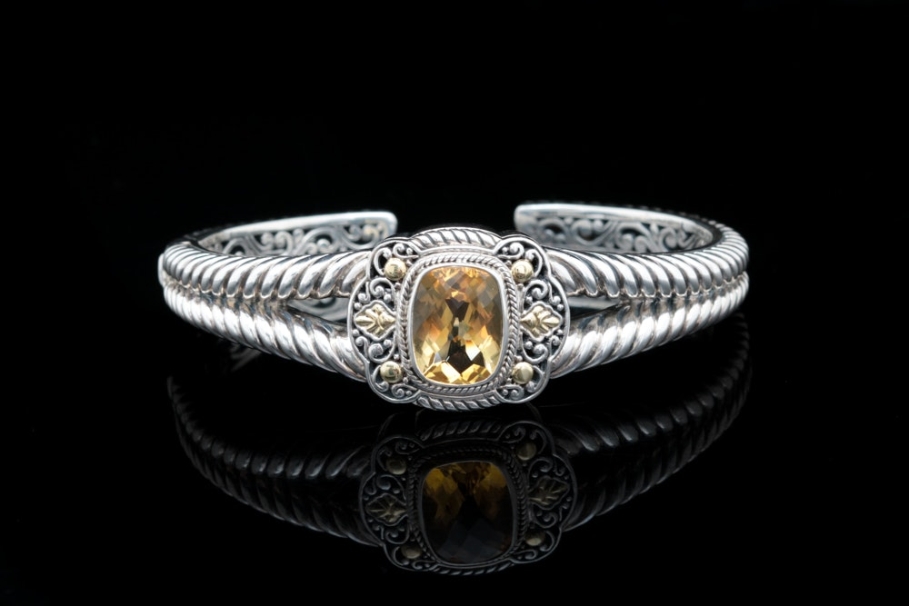 Robert Manse Sterling Silver, 18K Yellow Gold and Citrine Cuff Bracelet
