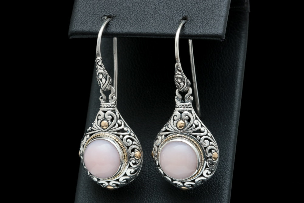 Robert Manse Sterling Silver, 18K Yellow Gold and Pink Opal Earrings