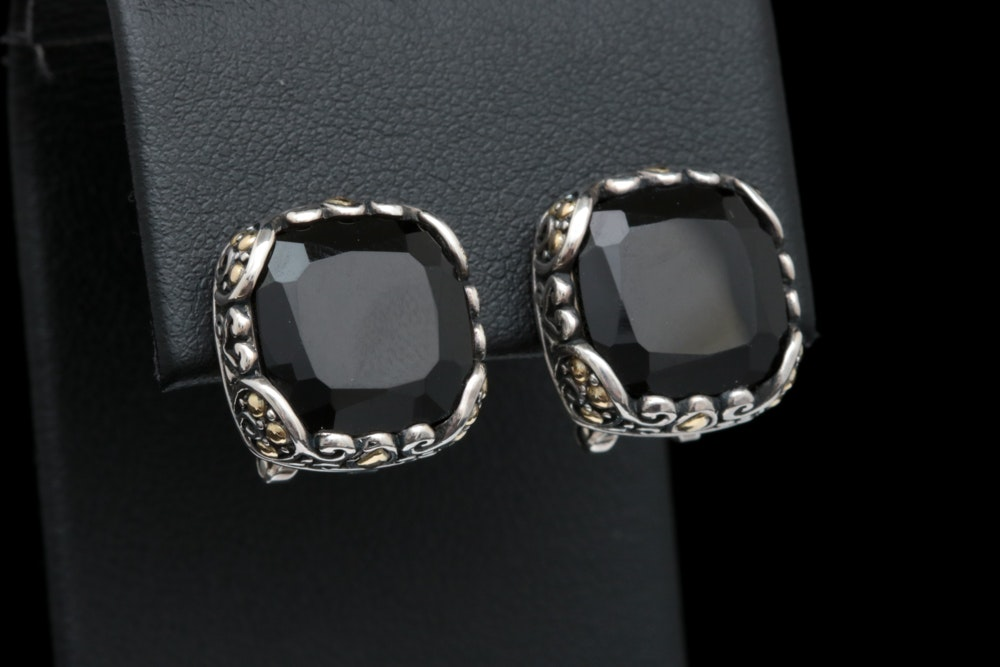 Robert Manse Sterling Silver, 18K Yellow Gold and Black Chalcedony Earrings