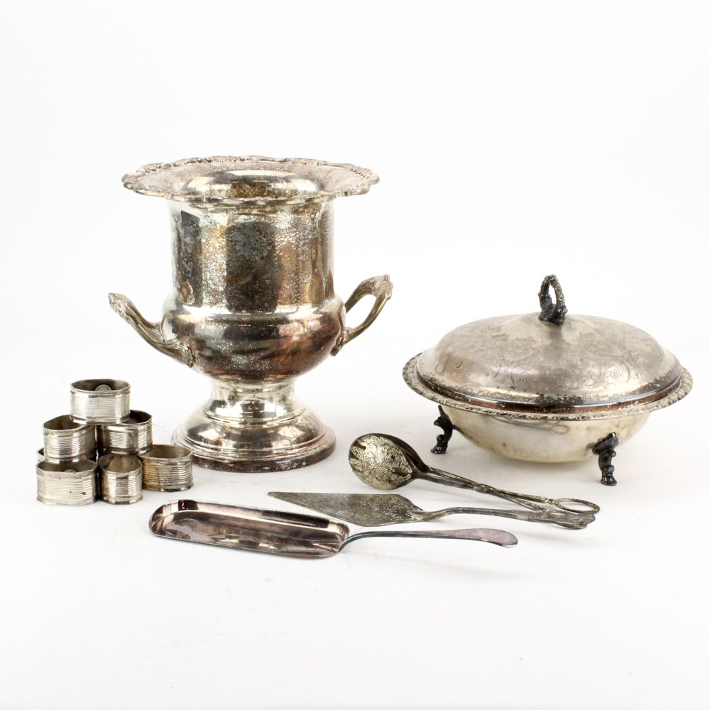 "Gorham ""Heritage"" Silver Plate Champagne Chiller and Other Serveware"