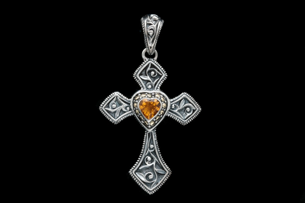 Robert Manse Sterling Silver, 18K Yellow Gold and Citrine Cross Pendant
