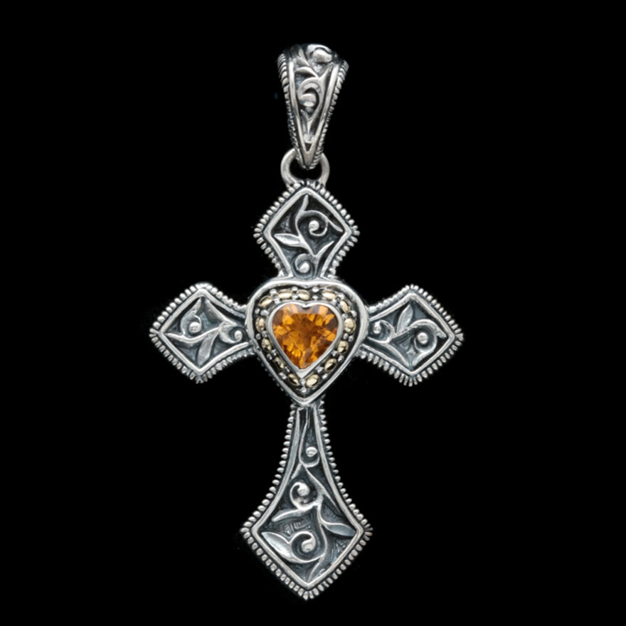 Robert manse sterling silver 18k yellow gold and citrine cross robert manse sterling silver 18k yellow gold and citrine cross pendant aloadofball Gallery