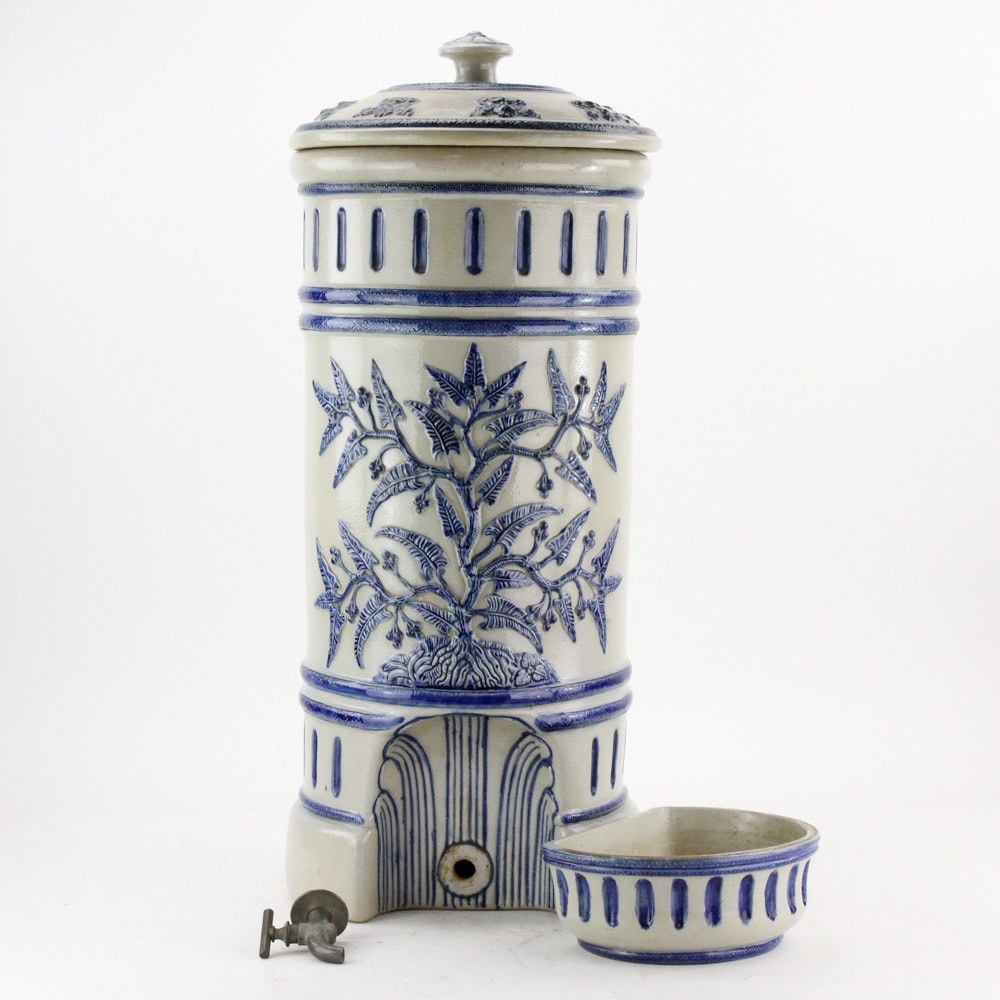 Vintage Blue and White Ceramic Water Cooler