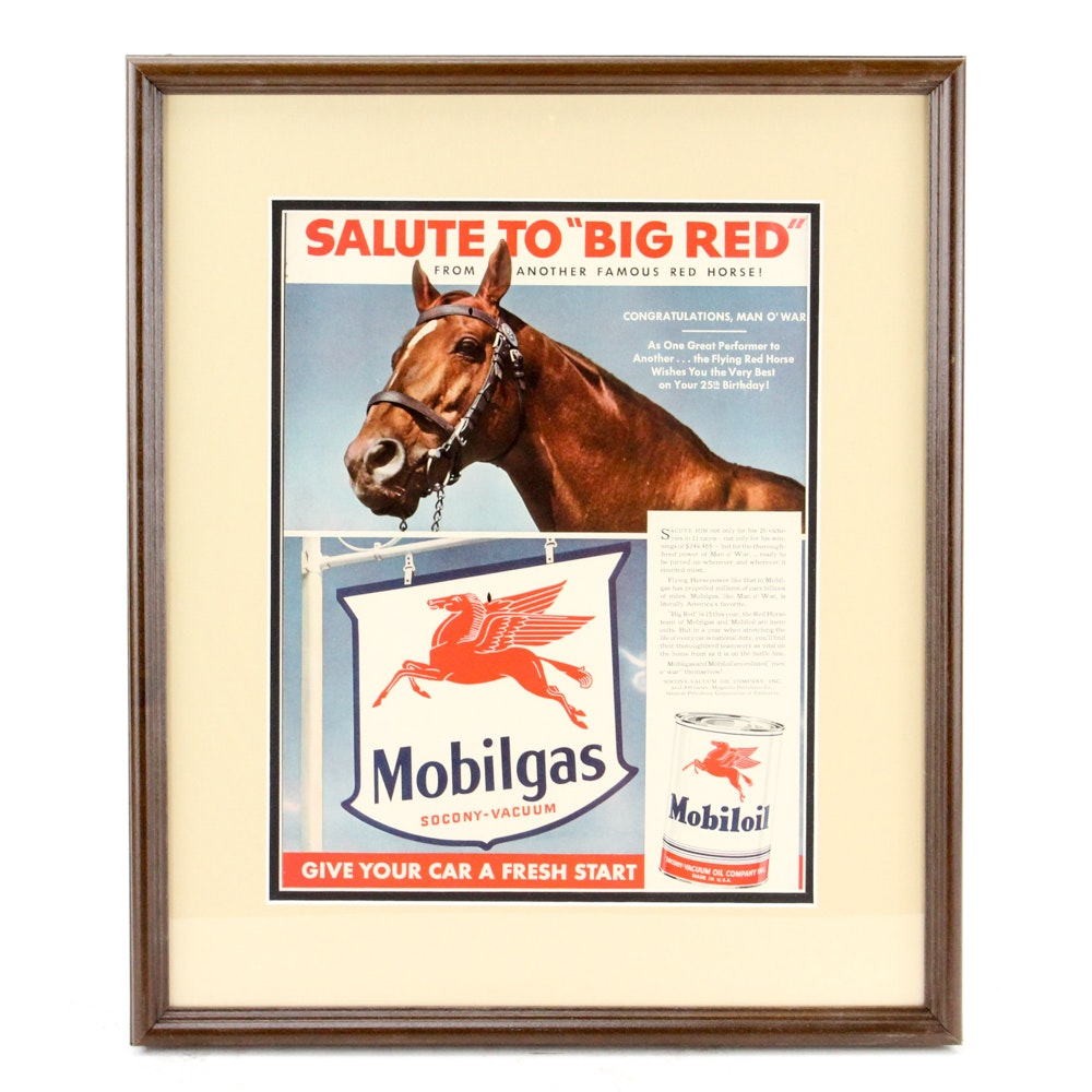 "1940s Mobilgas Man o' War-Themed Magazine Advertisement ""Salute to 'Big Red'"""