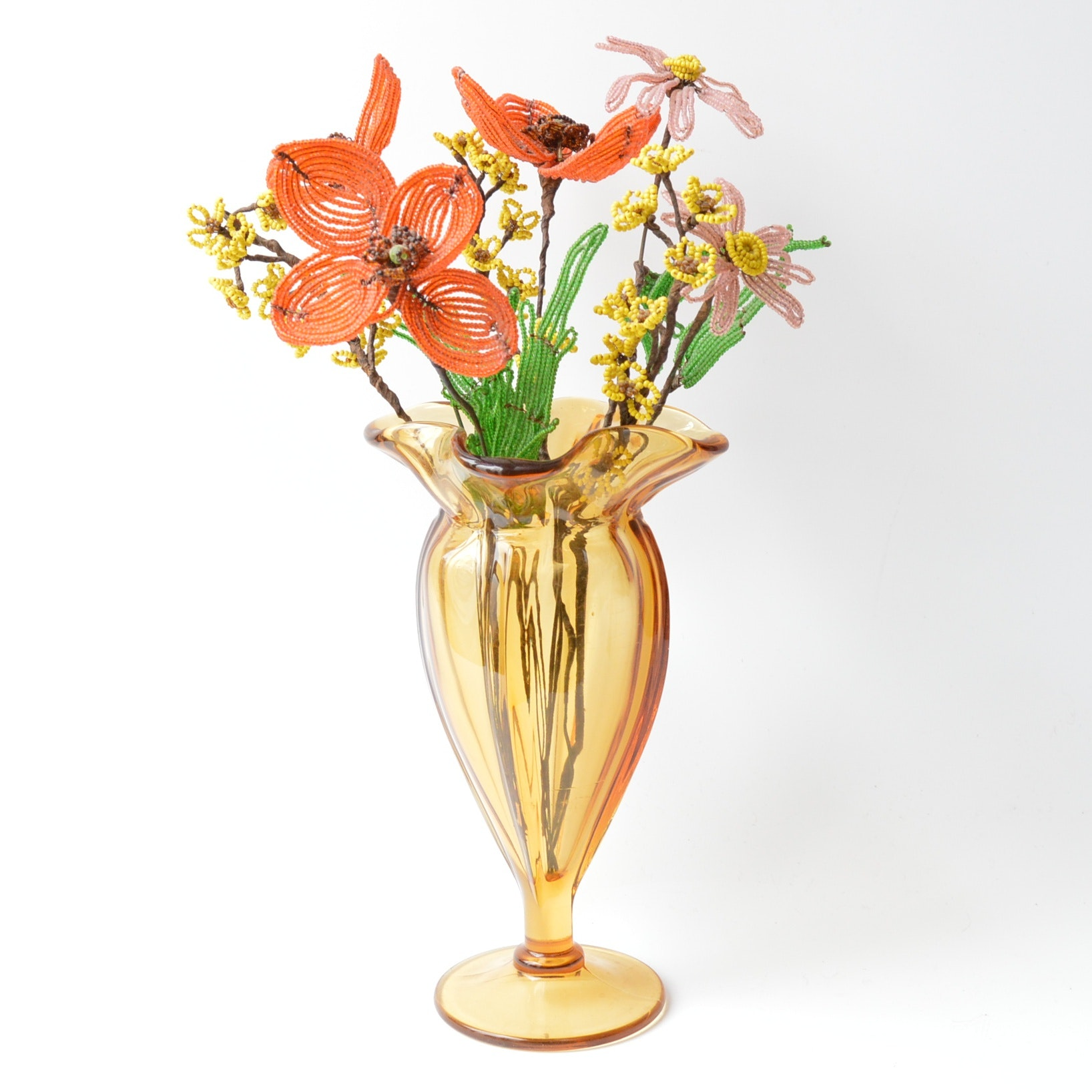 Vintage Gold Glass Vase with Beaded Flower Arrangement