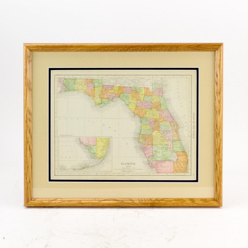 Rand Mcnally Map Of Florida.Circa 1914 Rand Mcnally Map Of Florida From Atlas Of The World Ebth