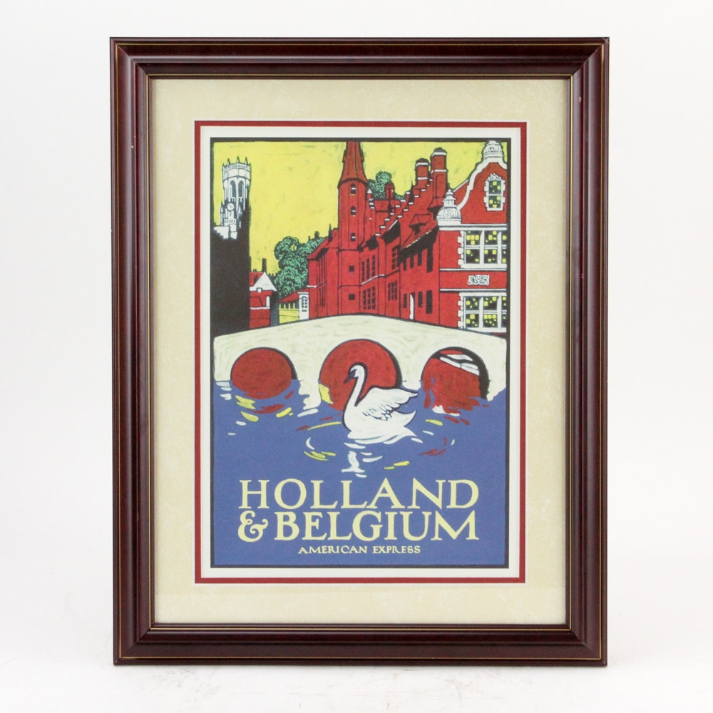 "Offset Lithograph After American Express ""Holland and Belgium"" Travel Poster"