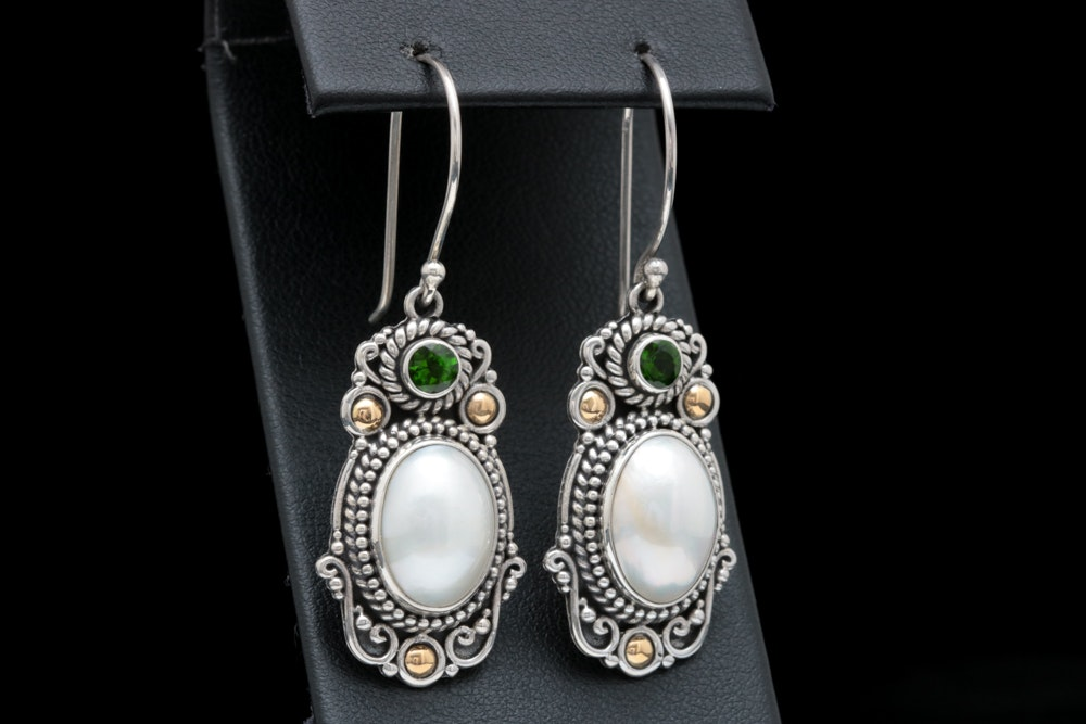 Robert Manse Sterling Silver, 18K Gold, Mabé Pearl and Chrome Diopside Earrings