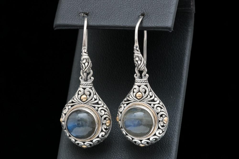Robert Manse Sterling Silver, 18K Yellow Gold and Labradorite Earrings