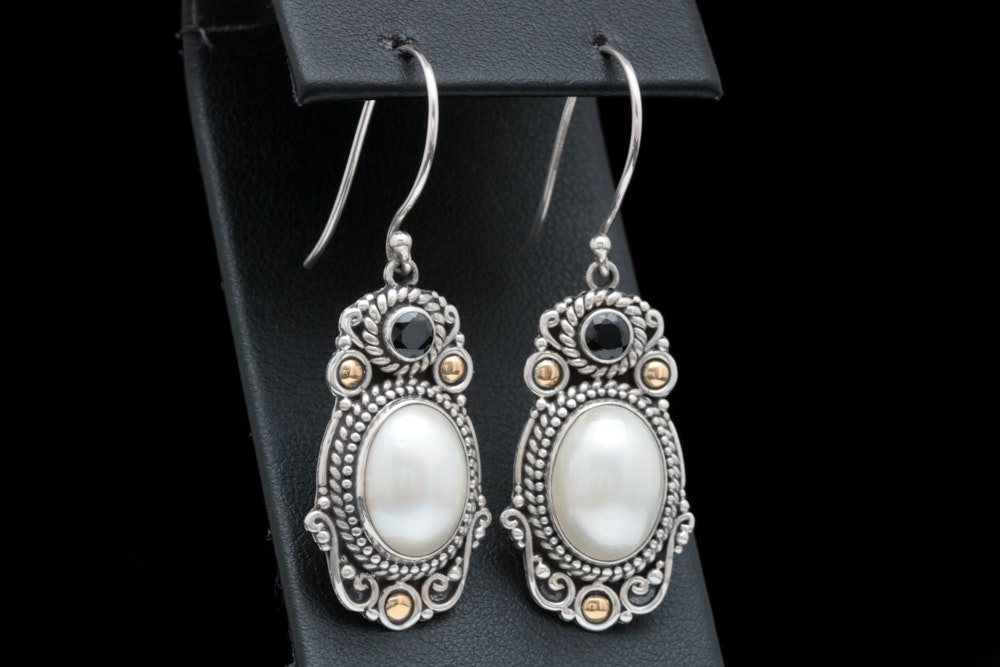 Robert Manse Sterling Silver, 18K Gold, Mabé Pearl and Black Spinel Earrings