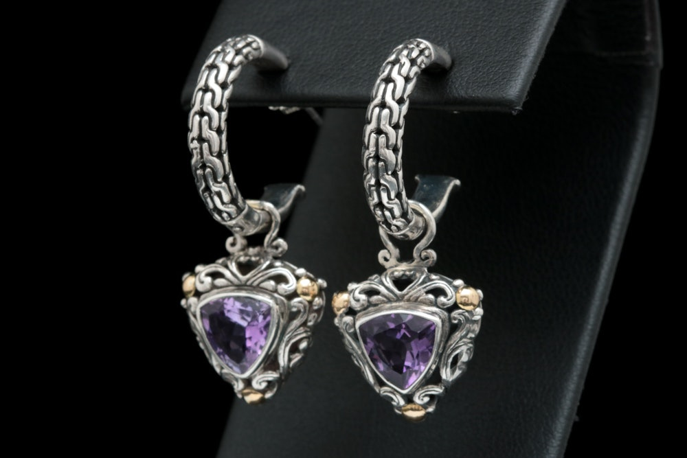 Robert Manse Sterling Silver, 18K Yellow Gold and Amethyst Earrings