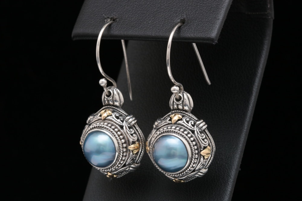 Robert Manse Sterling Silver, 18K Yellow Gold and Blue Mabé Pearl Earrings