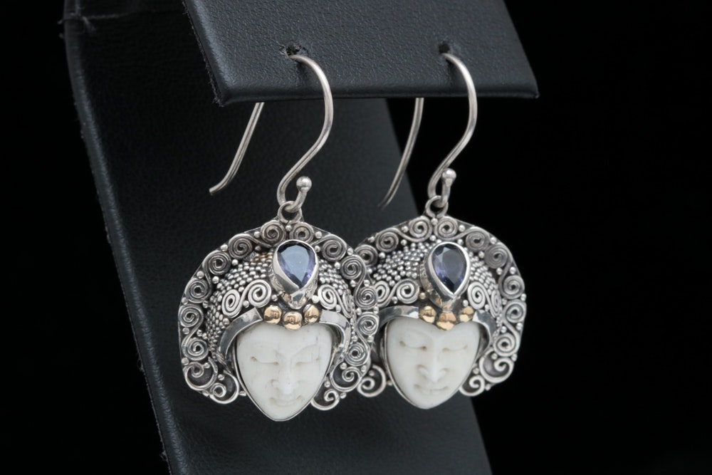 Robert Manse Sterling Silver, 18K Yellow Gold and Iolite Bone Face Earrings