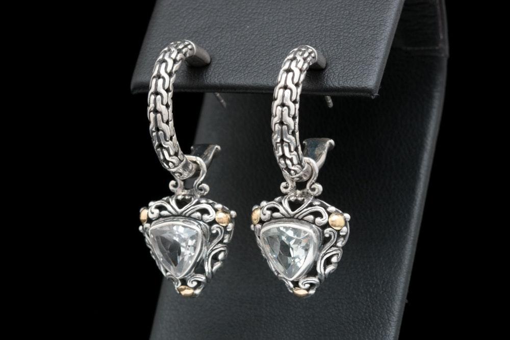 Robert Manse Sterling Silver, 18K Yellow Gold and White Topaz Earrings