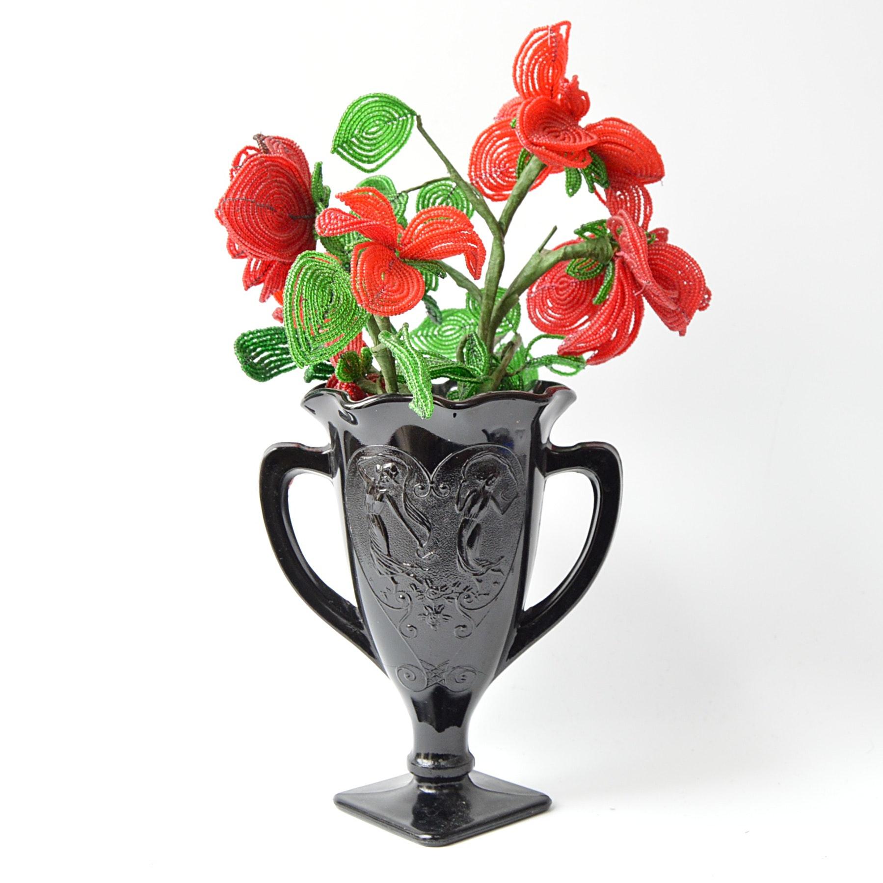 Vintage Black Glass Urn Vase with Beaded Flower Arrangement