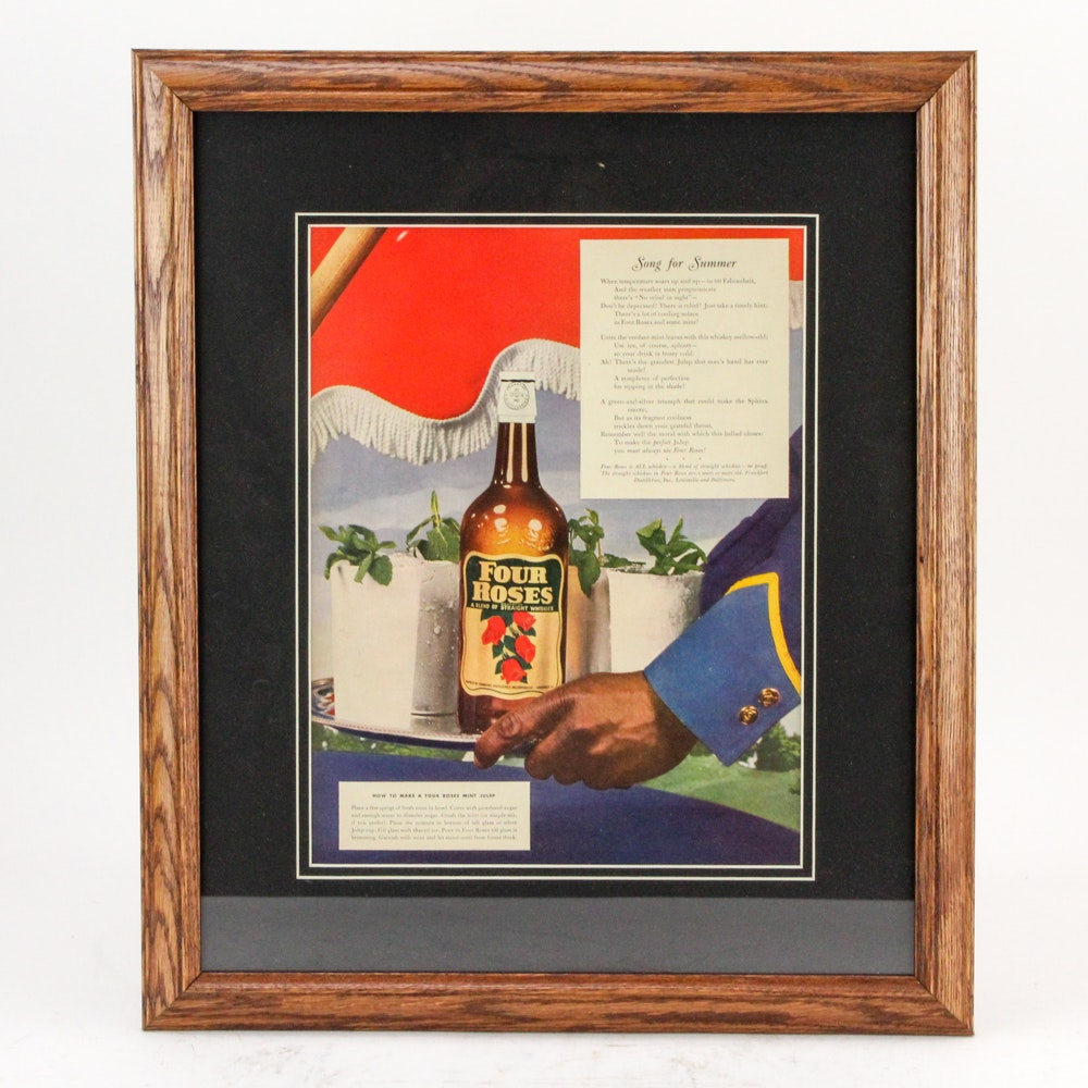 "Circa 1940s Four Roses Bourbon Mint Julep Magazine Ad ""Song for Summer"""