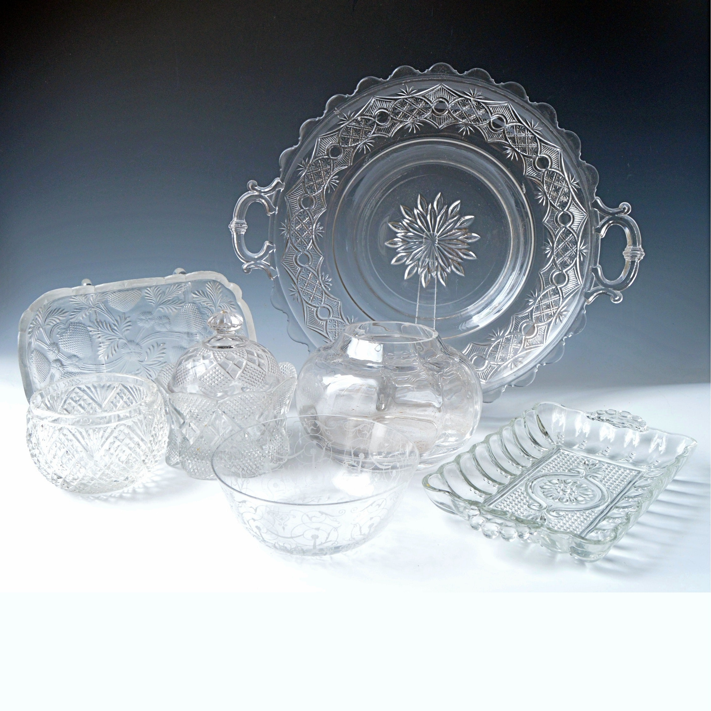 Vintage EAPG, Pressed and Depression Glass Tableware