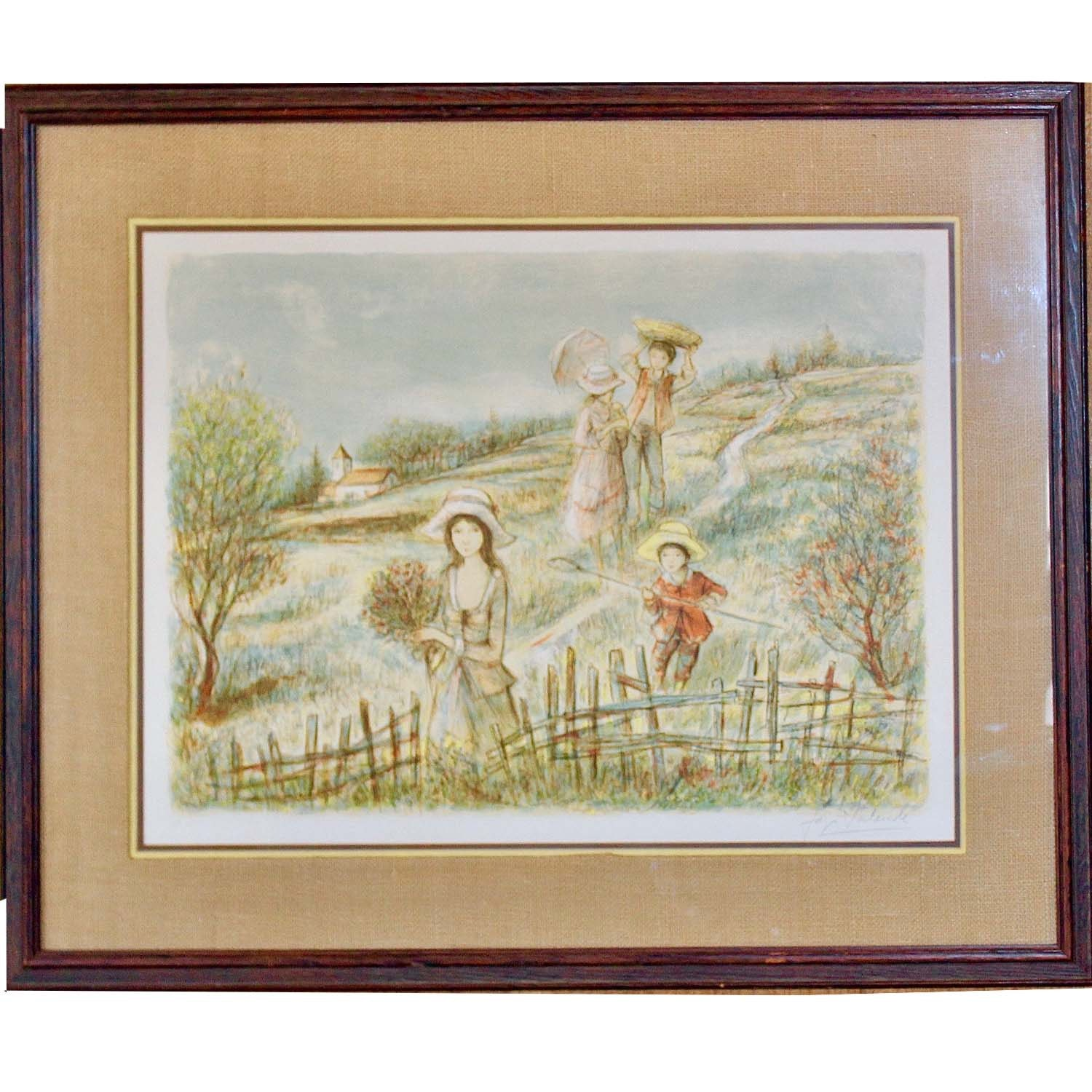 """Signed Jacques Lalande Limited Edition Lithograph """"Strolling in the Meadow"""""""