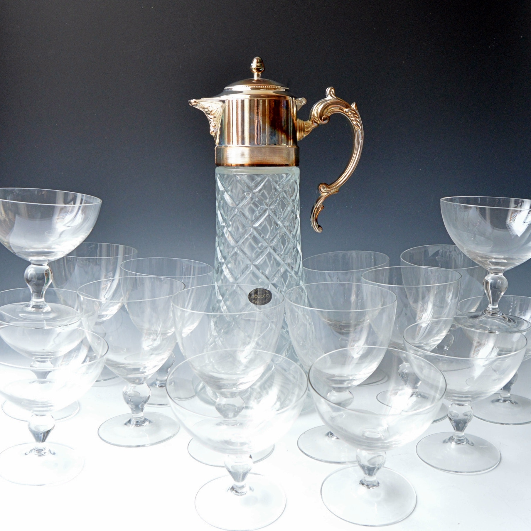 Vintage Italian Lead Crystal and Silver Plate Pitcher with Glass Stemware Set