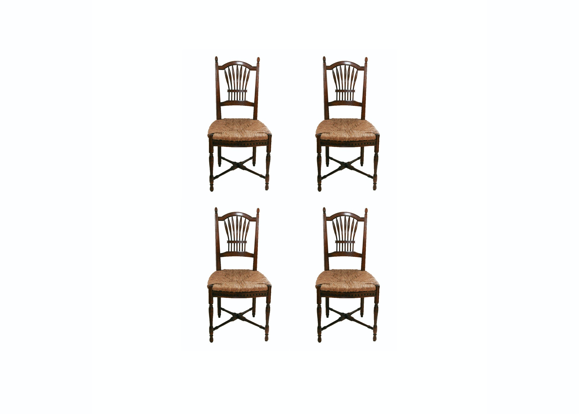 Wheat Back Side Chairs with Rush Seats
