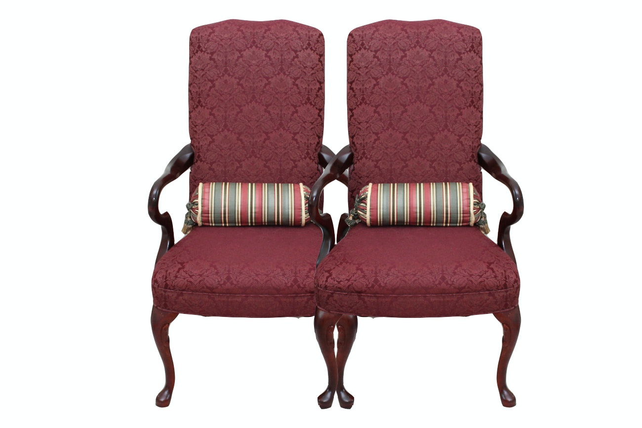 Pair of Queen Anne Upholstered Cherry Armchairs
