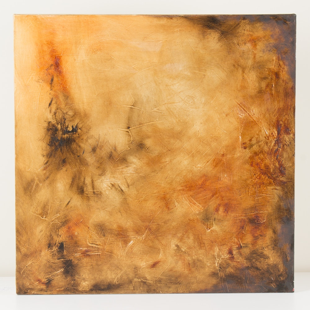"Rhona LK Schonwald Oil Painting ""Brown Color Poem"""