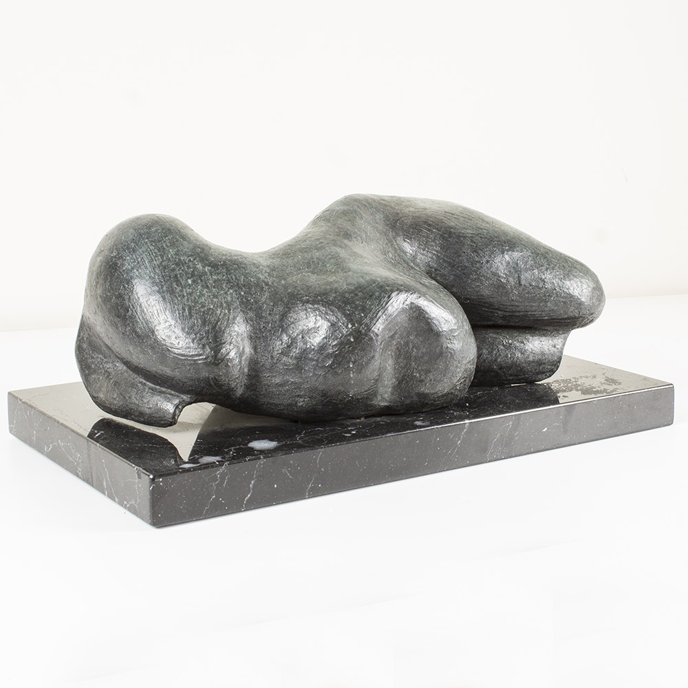 "Rhona LK Schonwald Metal Sculpture on Marble ""Fat and Over 40"""