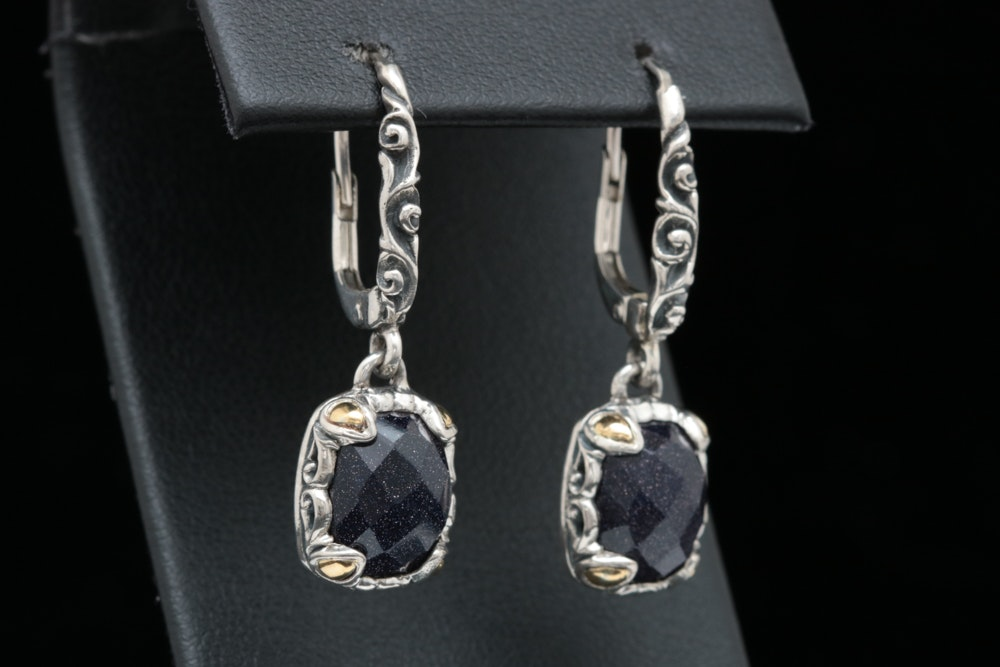 Robert Manse Sterling Silver, 18K Yellow Gold and Goldstone Glass Earrings
