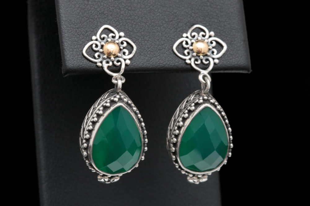 Robert Manse Sterling Silver, 18K Yellow Gold and Green Chalcedony Earrings