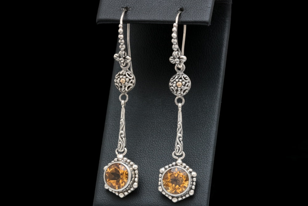 Robert Manse Sterling Silver, 18K Yellow Gold and Citrine Earrings