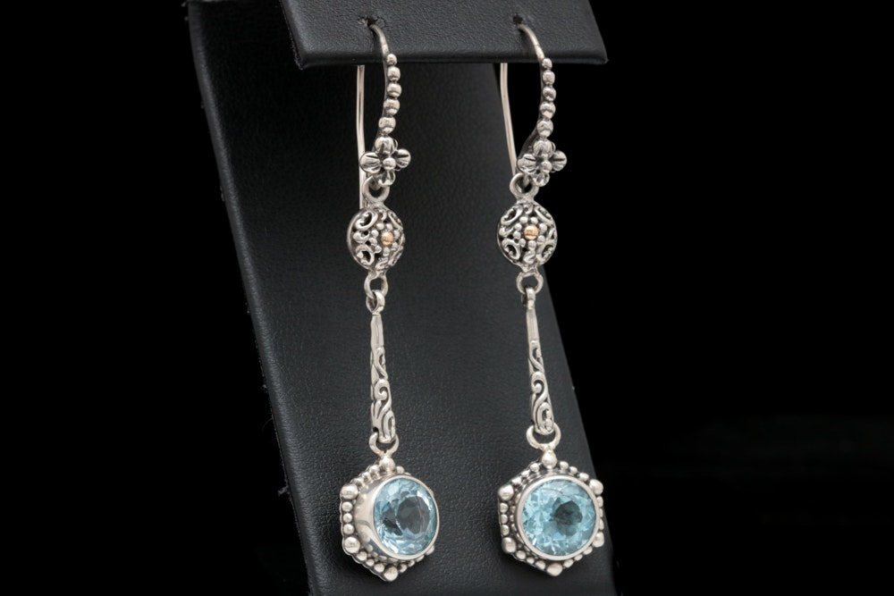 Robert Manse Sterling Silver, 18K Yellow Gold and Blue Topaz Earrings