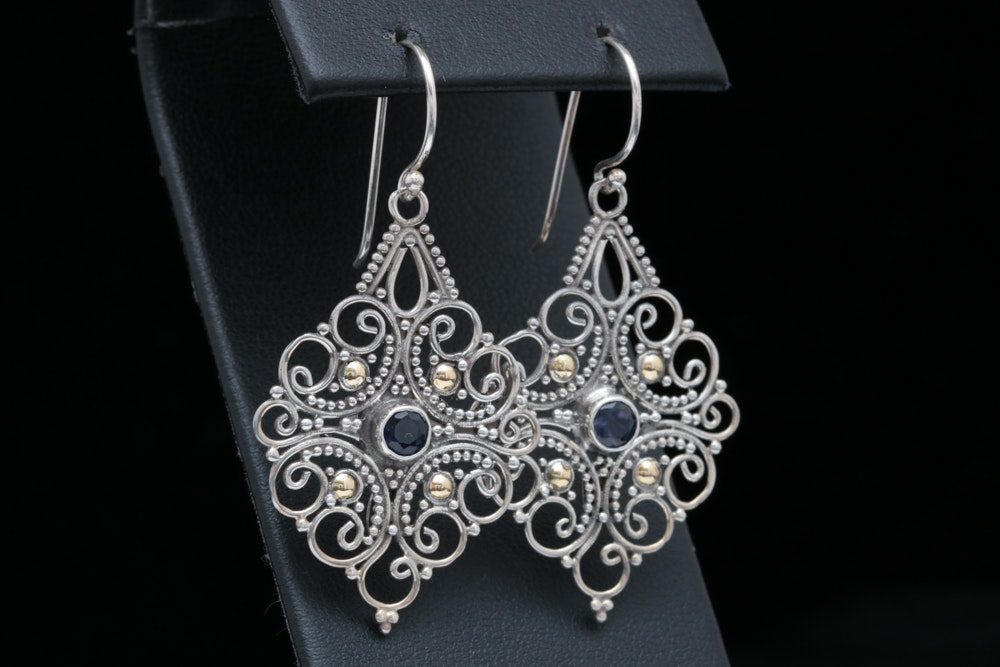 Robert Manse Sterling Silver, 18K Yellow Gold and Iolite Earrings