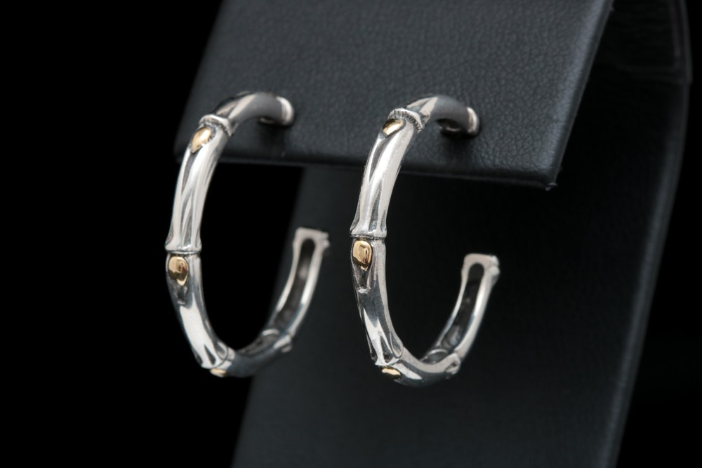 Robert Manse Sterling Silver and 18K Yellow Gold Bamboo Hoop Earrings