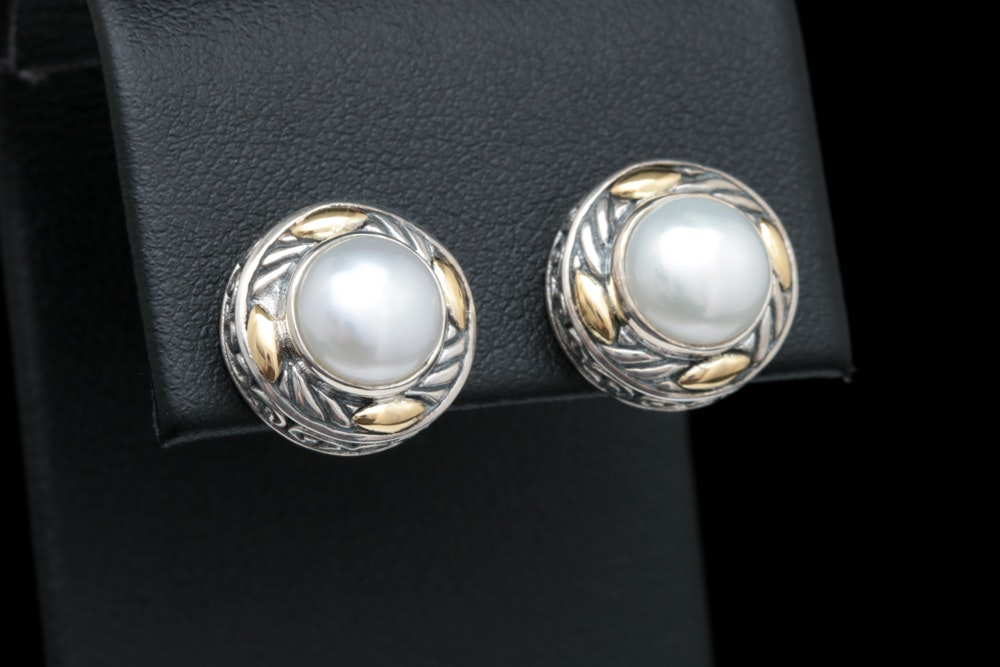 Robert Manse Sterling Silver, 18K Yellow Gold and Pearl Earrings
