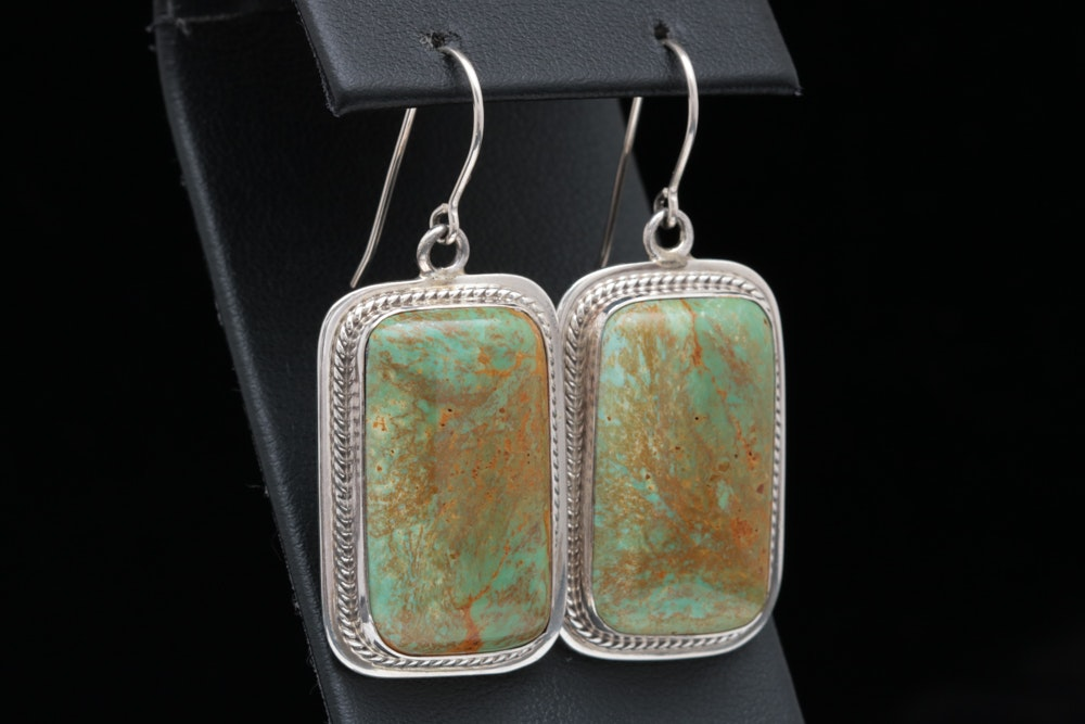 P. Sanchez Sterling Silver and Turquoise Dangle Earrings