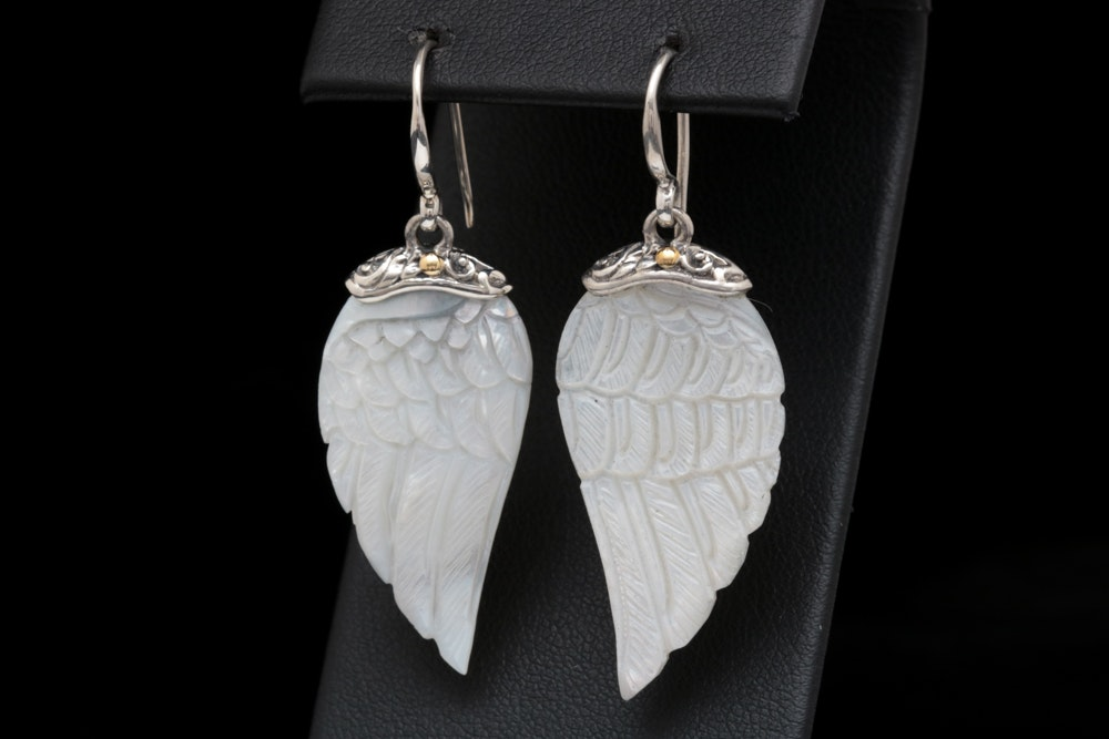 Robert Manse Sterling Silver, 18K Yellow Gold and Mother of Pearl Wing Earrings