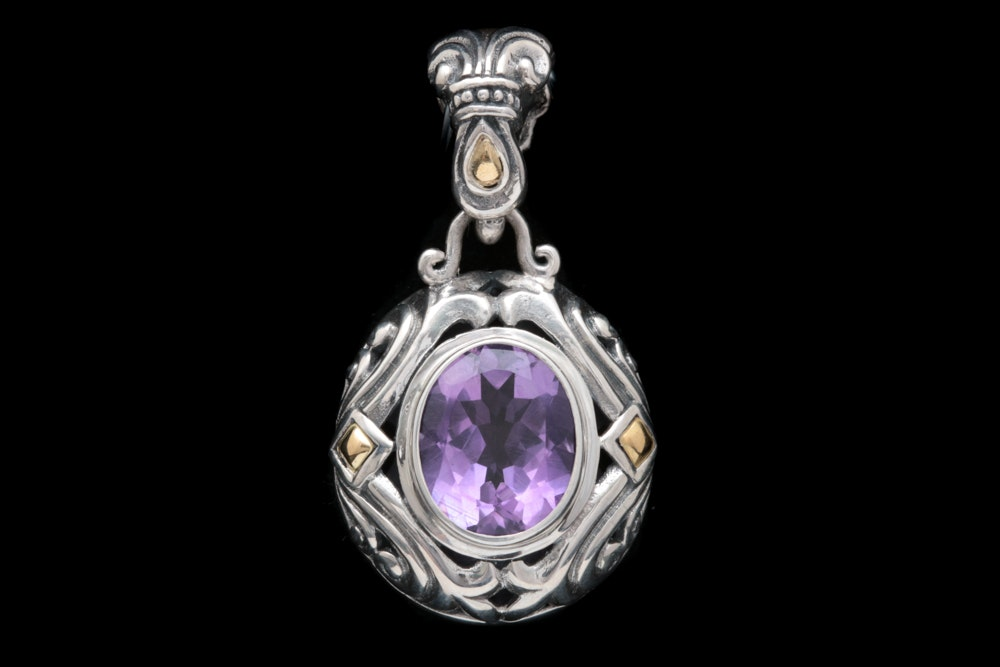 Robert Manse Sterling Silver, 18K Yellow Gold and Amethyst Pendant