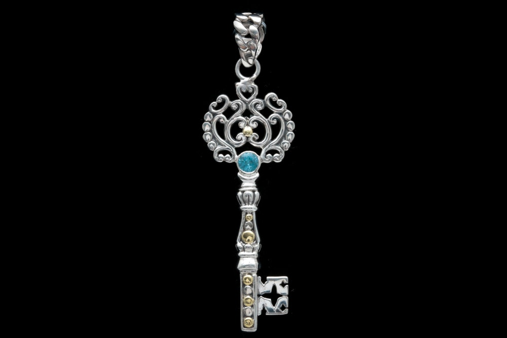 Robert Manse Sterling Silver, 18K Yellow Gold and Blue Topaz Key Pendant