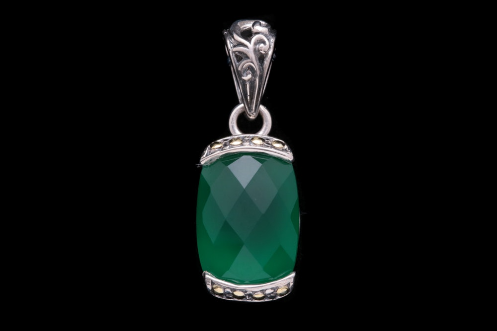Robert Manse Sterling Silver, 18K Yellow Gold and Green Chalcedony Pendant