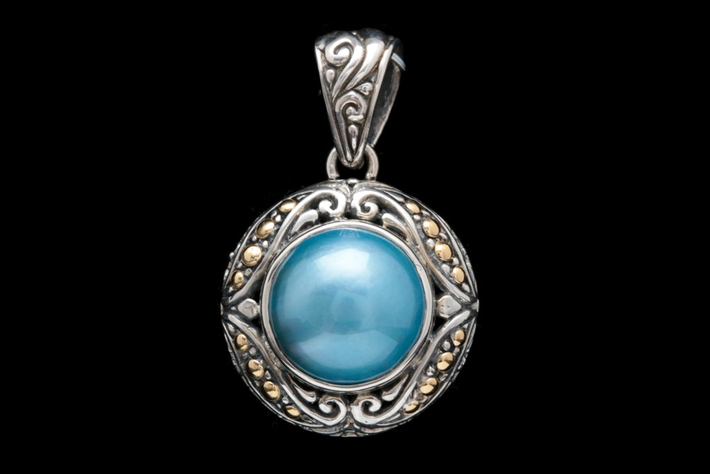 18LEX021-Robert Manse Sterling Silver, 18K Gold and Blue Mabé Pearl Pendant
