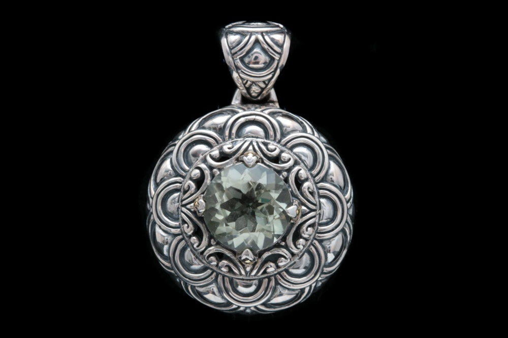 Robert Manse Sterling Silver, 18K Yellow Gold and Praseolite Pendant