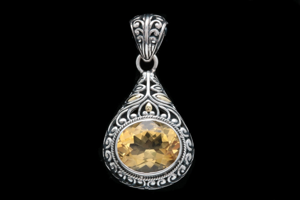 Robert Manse Sterling Silver, 18K Yellow Gold and Citrine Pendant