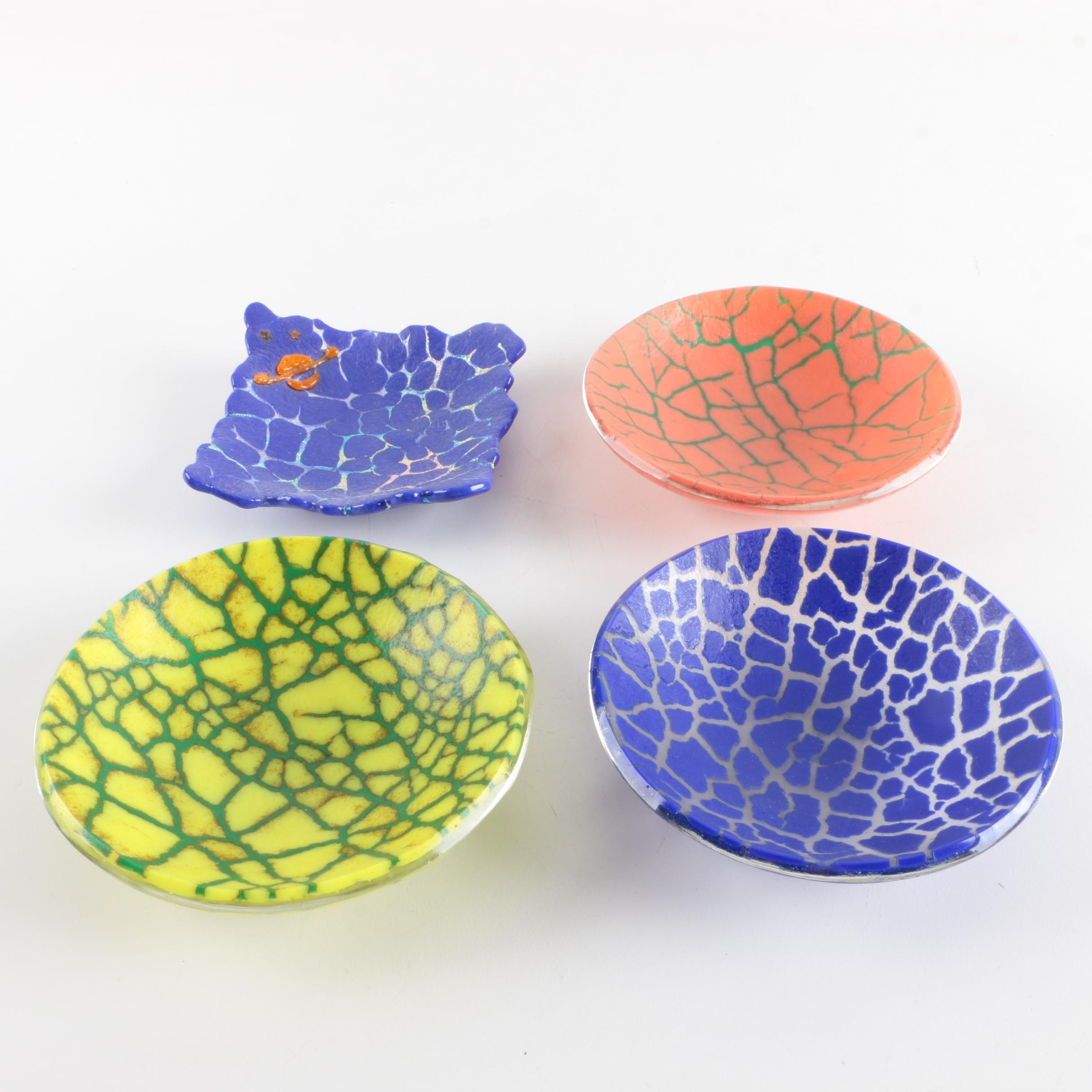 Crackle Motif Art Glass Dishes