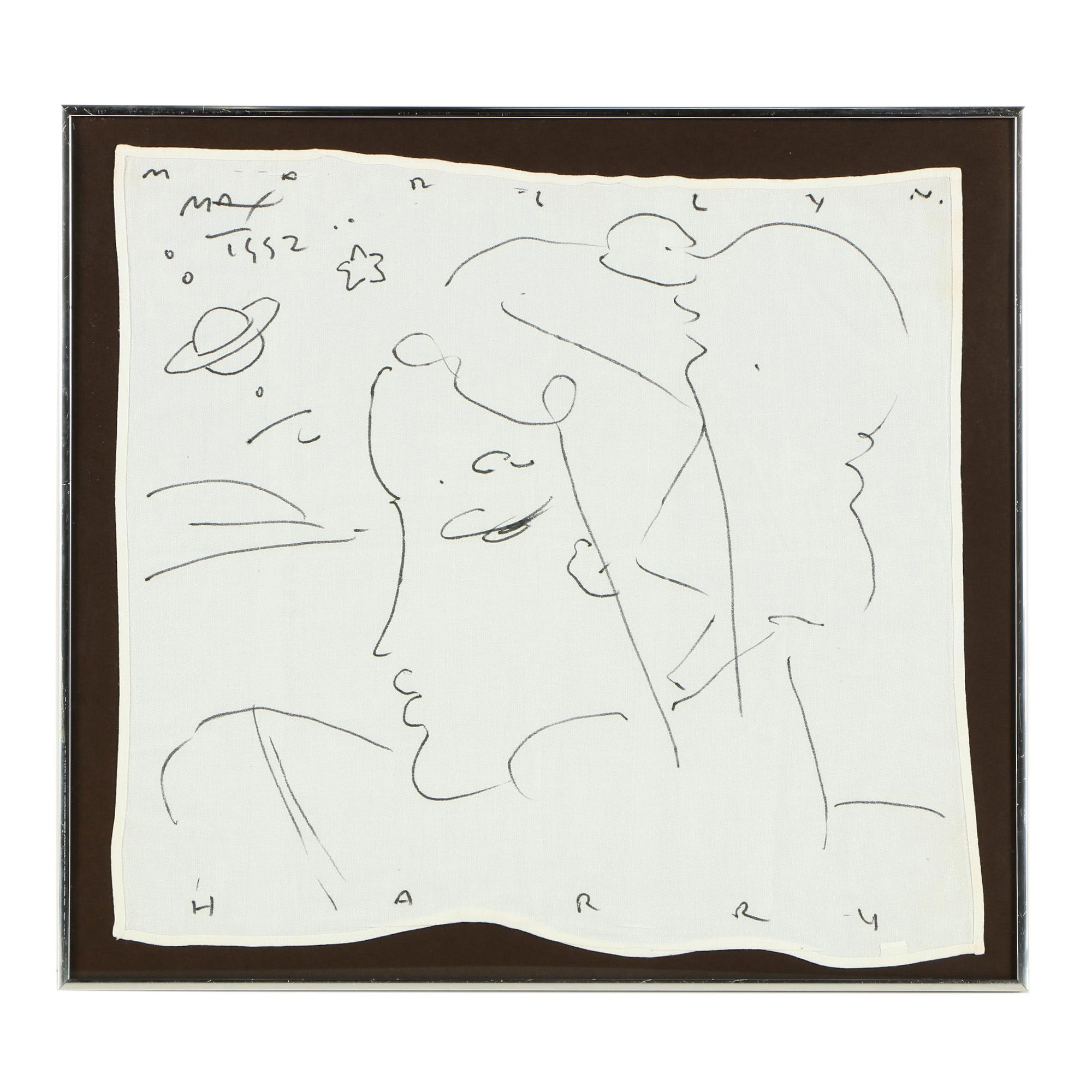 Peter Max Drawing on Cloth Restaurant Napkin
