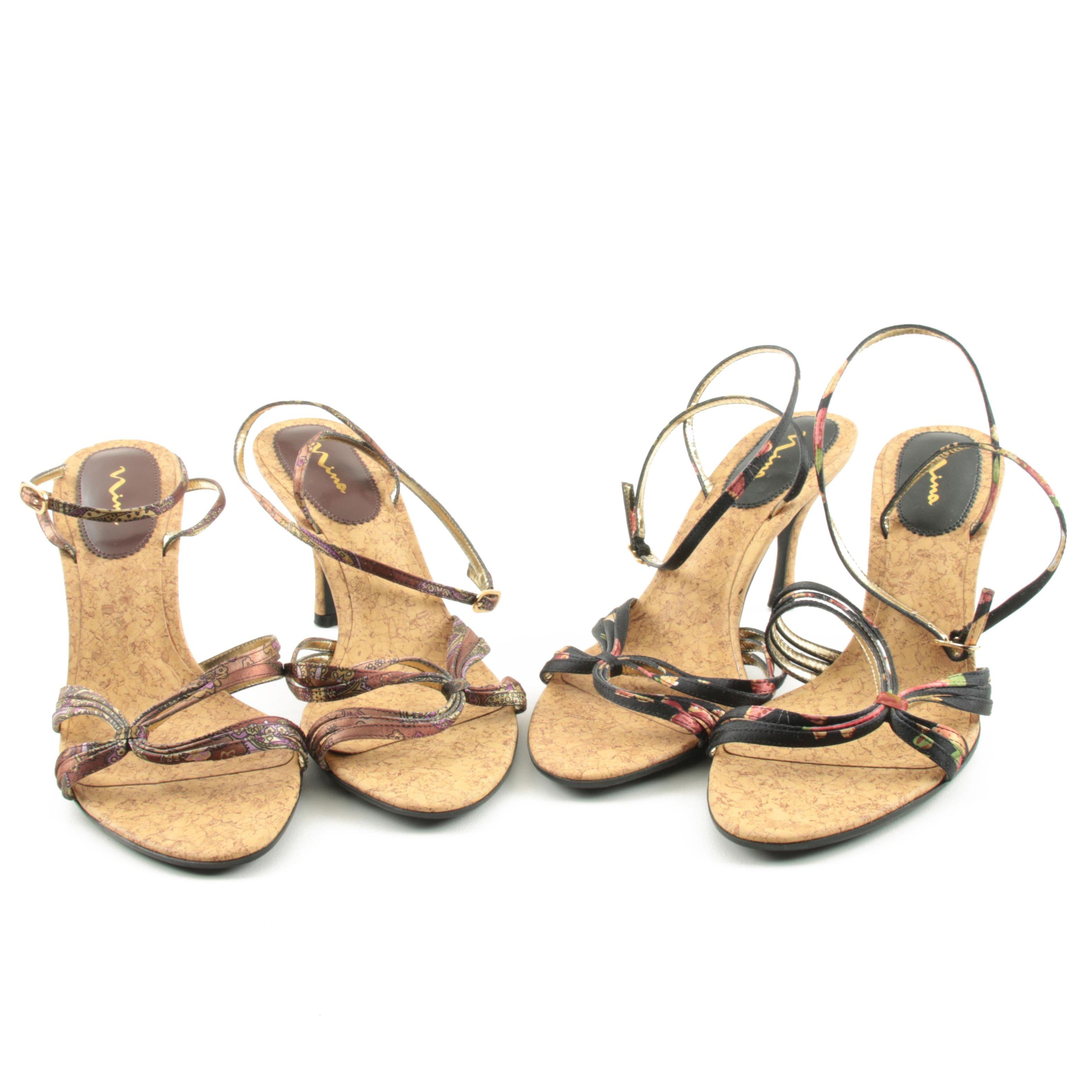 Women's Nina Cork Heel Strappy Sandals