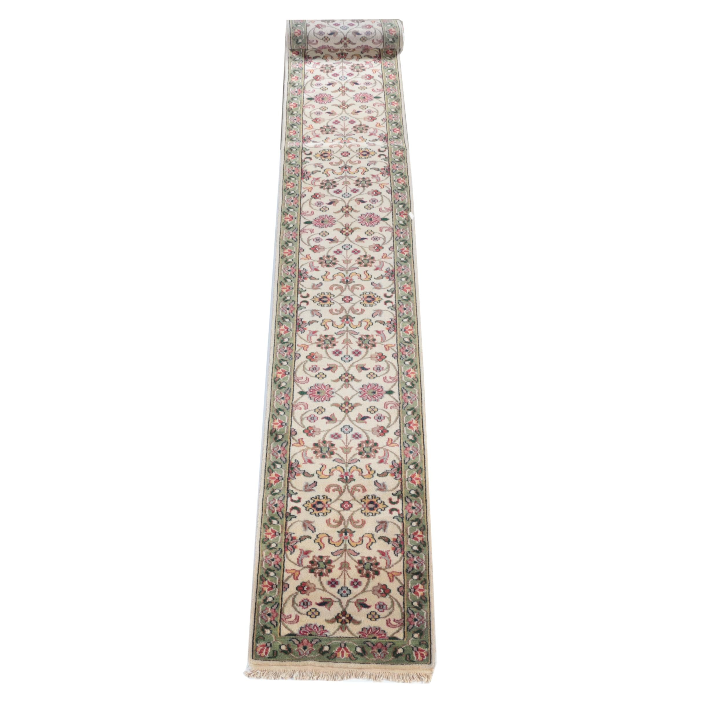 "Hand-Knotted Indo-Persian ""Kashan"" Wool Palace Size Runner"