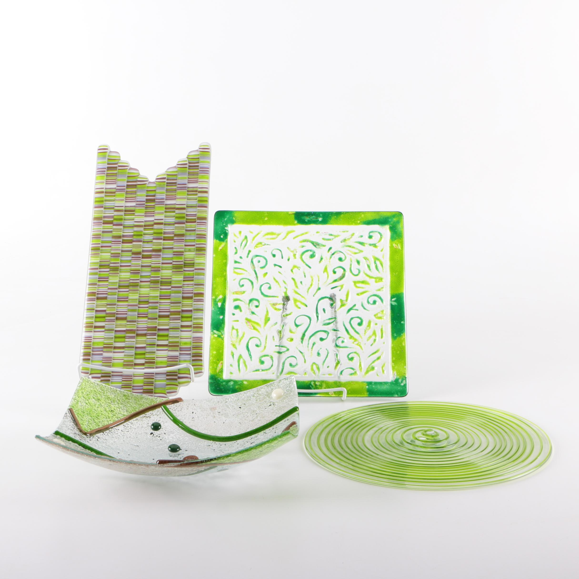 Green Art Glass Plates and Bowl