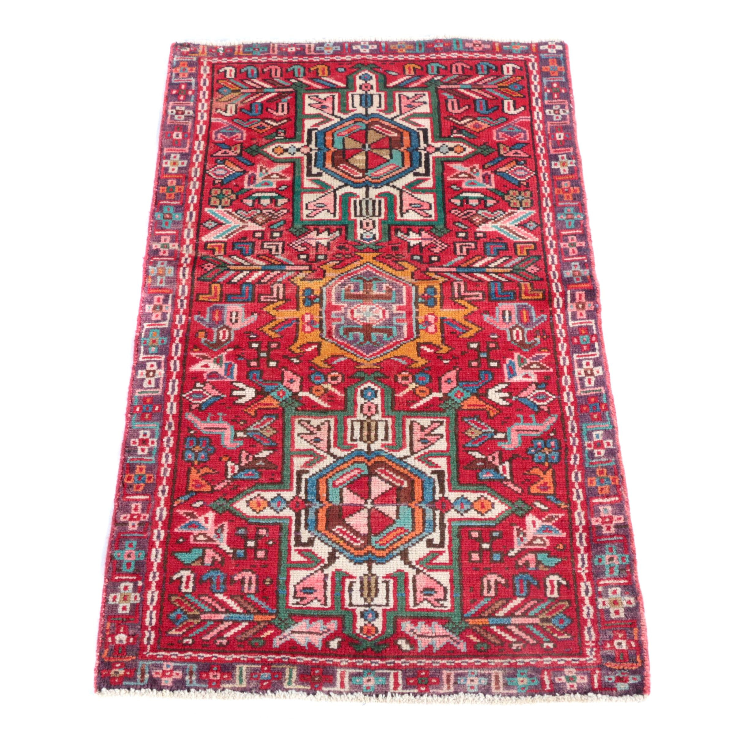 Hand-Knotted Persian Karaja Accent Rug