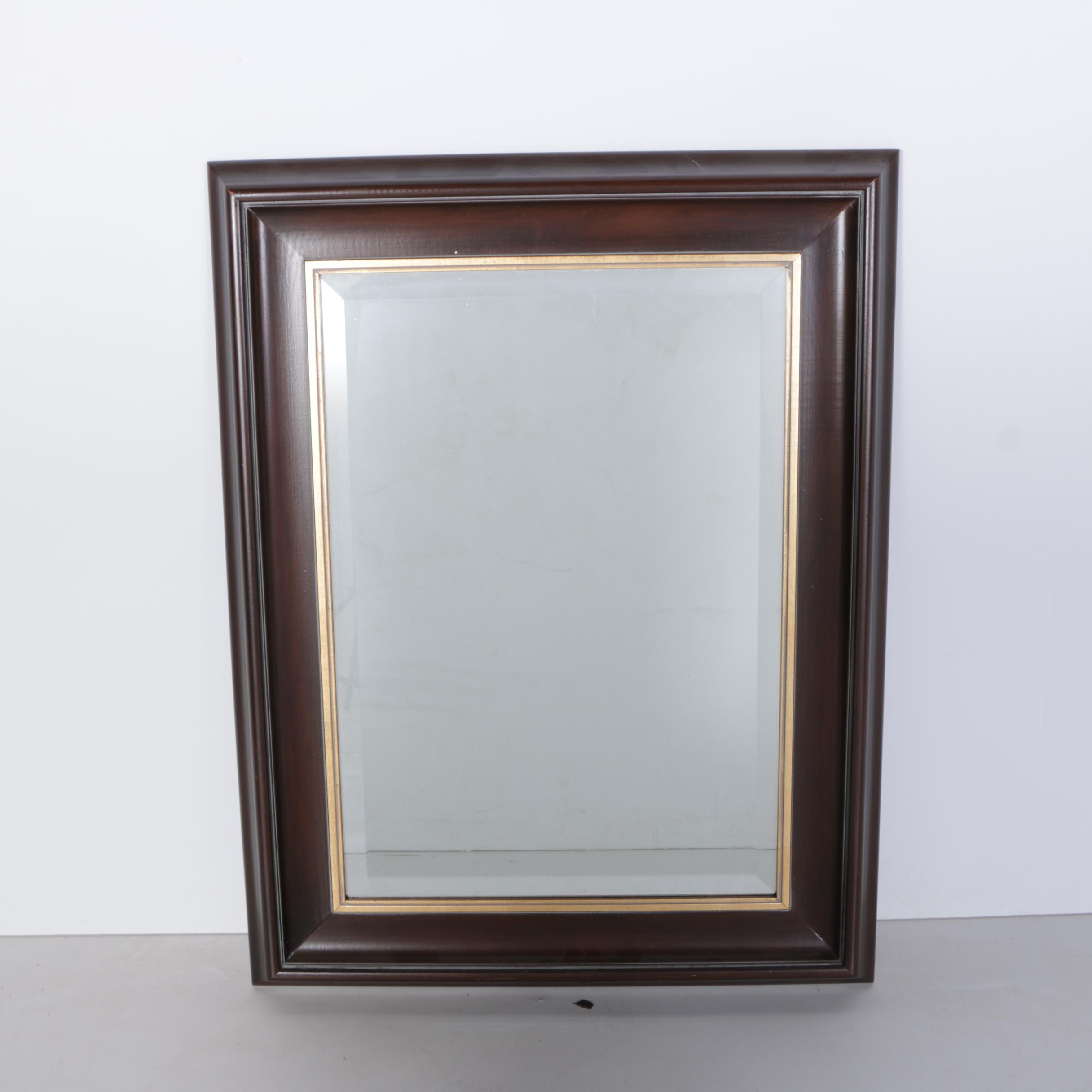 Two Toned Wood and Metal Framed Wall Mirror
