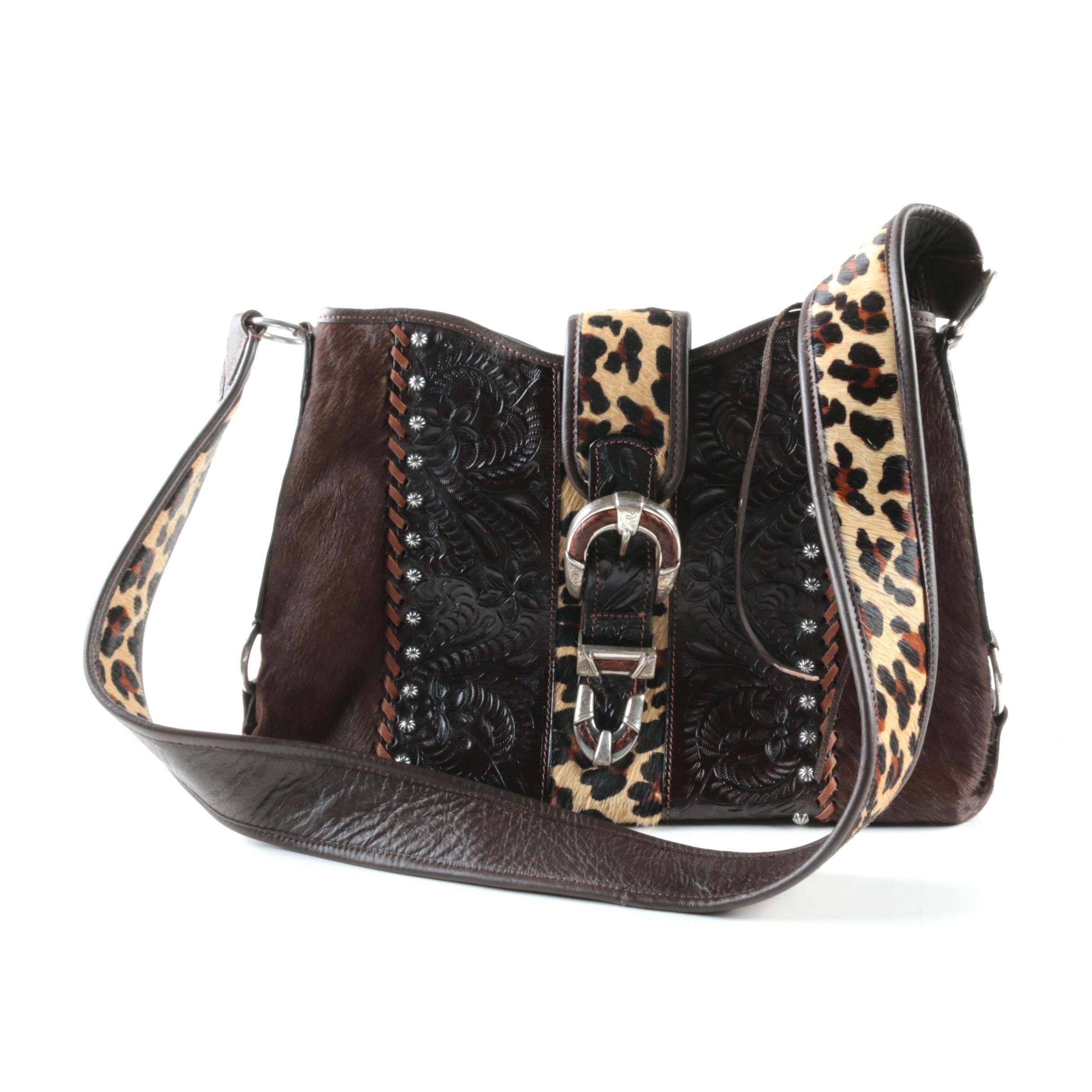American West Tooled Leather and Animal Print Handbag